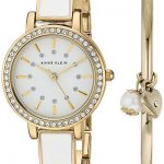 Anne Klein Womens Swarovski Crystal Accented Gold Tone White Watch Bangle Set