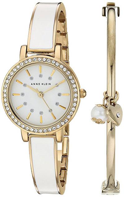 Anne Klein Womens Swarovski Crystal Accented Gold Tone White Watch Bangle Set
