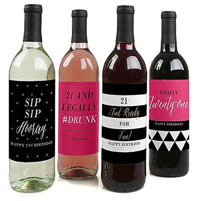 Finally 21 Girl Wine Bottle Labels Birthday Gift Set Of 4