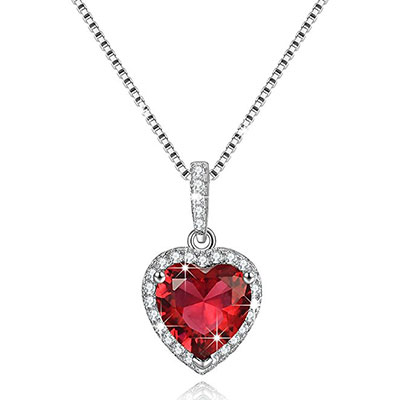 Love Heart Necklace Simulated Birthstone Sterling Silver Gift For Women