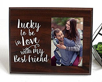 Lucky To Be In Love Romantic Gift Picture Frame For Boyfriend