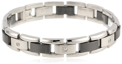 Mens Stainless Steel Black Ceramic Bracelet Diamonds