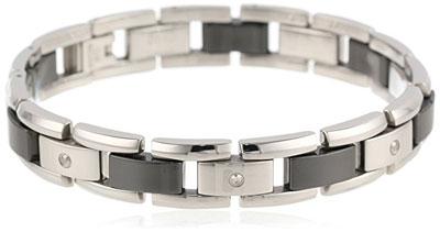 Mens Stainless Steel Black Ceramic Bracelet Diamonds