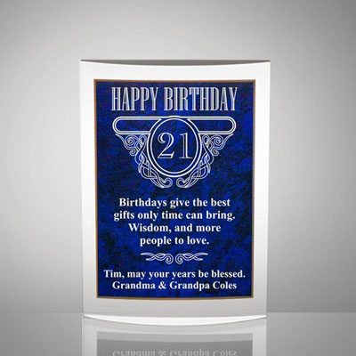 Milestone Acrylic Birthday Plaque Blue Marble Finish