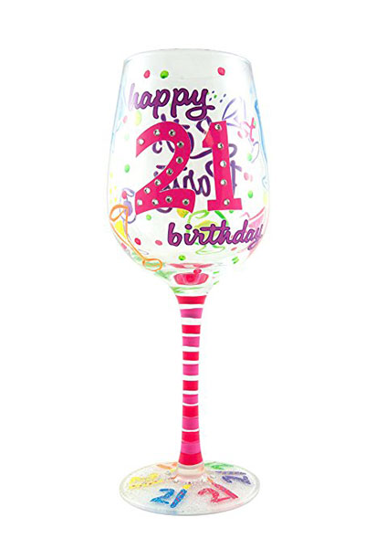 Top Shelf 21st Birthday Wine Glass Hand Painted