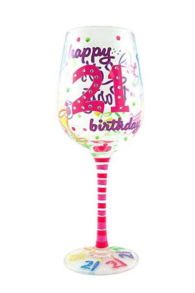 Top Shelf 21st Birthday Wine Glass Hand Painted